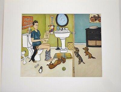 """""""Train your Wiener"""" 8""""x 10"""" Print Dachshund matted & ready for 11""""x 14"""" Frame"""