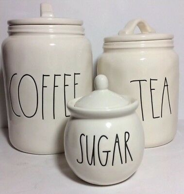 NEW Rae Dunn By Magenta LL Coffee Tea Canister Set with Sugar Bowl -FREE SHIP