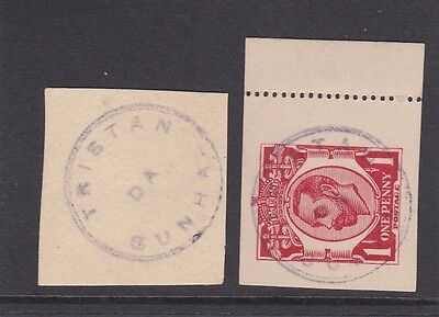 Rare!!! Tristan Type I Cachet On Gb Gv Lettercard Cutout + Another On Piece