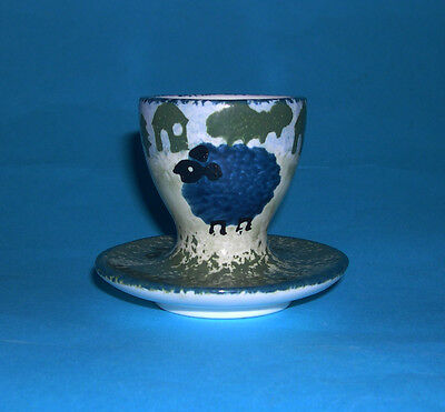 Vintage Studio Pottery - Exquisitely Designed Sheep Pattern Egg Cup - Quality.