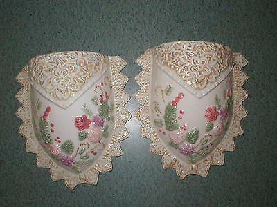 "2 Vintage Pink Flowers Scalloped Edges Ceramic Wall Pocket Vases 7"" W x 8"" T"