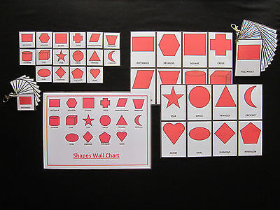Shapes Cards Red - PECS/Autism/Choice Board/Dementia/Speech Loss/Visual Aids
