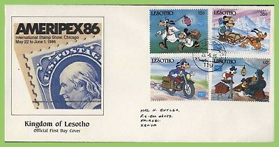 Lesotho 1986 Ameripex Exhibition Disney set First Day Cover