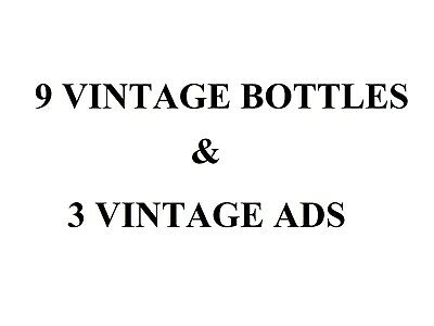 9 vintage soda bottle lot plus 3 vintage ads