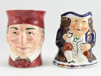 NICE Toby Mug Lot of 2 Japan Allertons England Colonial Character Jugs Gold Pink