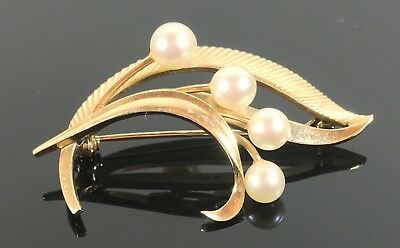 Fine Mikimoto 14ct Gold Cultured Pearl Brooch 14k 585 8.4 grams