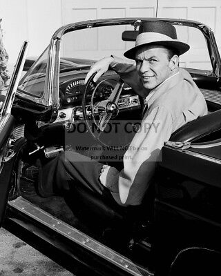 Frank Sinatra Sits In His Ford Thunderbird 1955 - 8X10 Publicity Photo (Op-406)