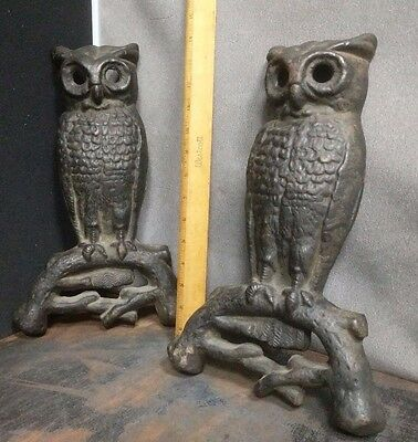 Antique Rostand 407E Cast Iron Owl AndIrons, perched on branch, No Eyes As Found