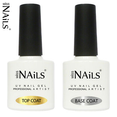Miss Nails TOP and BASE COAT UV LED Nail Gel Soak Off Polish Varnish Colour 10ml