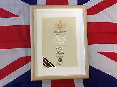 Oath Of Allegiance Corps Of Royal Military Police RMP framed with Cap Badge