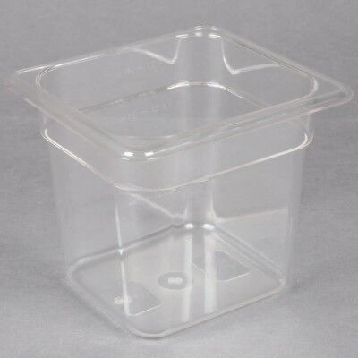 """1/6 Size Clear Plastic Prep Table Salad Bar Food Kitchen Pan 6"""" (Pack of 10)"""