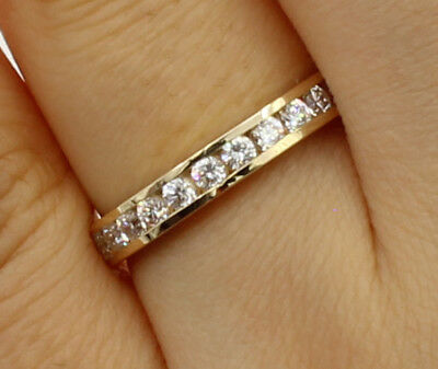 0.50 Ct 14K Real Yellow Gold Round Cut Channel Set Wedding Anniversary Ring Band