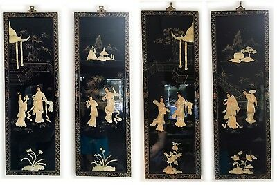 Vintage Asian 4 Panel hand made mother of pearl black laquer geisha