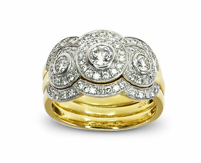 18k Yellow Gold 0.785ct Diamond Engagement/Wedd./Annivers. 3 Ring Bridal Set 501