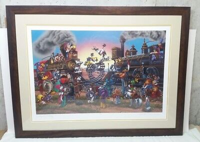 2000 Looney Tunes Lionel Trains Limited Edition Lithograph Framed Print