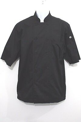 Chef Works Yin Yang Shirt Uniform Double Button Front Black Sushi Cook Medium