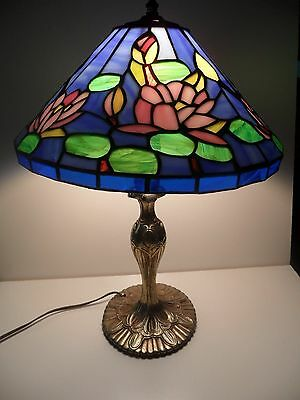 "Blue Tiffany Style Stained Glass Resin Table Lamp 13"" Water Lily Flowers, Lion"