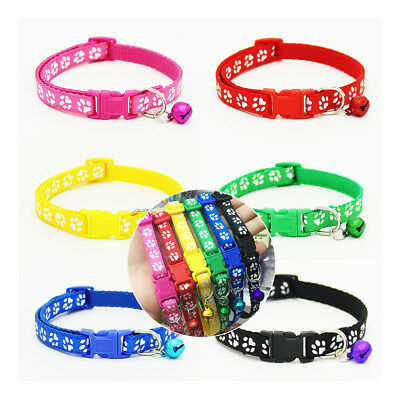 6 Color Small Footprint With Bell Pet Collar Nylon Fabric Cat Kitten Dog Puppy: