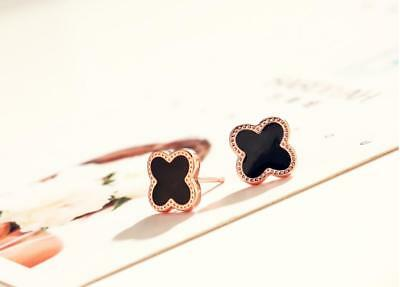 Fashion Black *Four-leaf Clover* Rose Gold Lucky Flower Stud Earring
