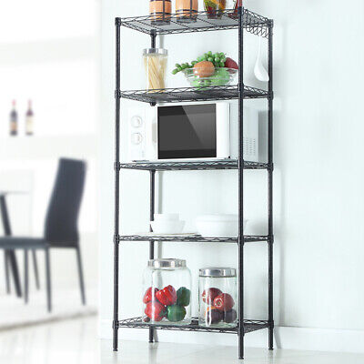 Floor Standing Carbon Steel Storage Rack Portable & Changeable Assembly Black