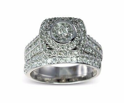 REDUCED 14k White Gold 1.00ct Diamond Halo Engagemen 2 Ring Bridal Set 9.8gm 498