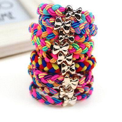 10X Weaves Bowknot Ponytail Elastic Holders Hair Accessories Girl Rubber Band、AU