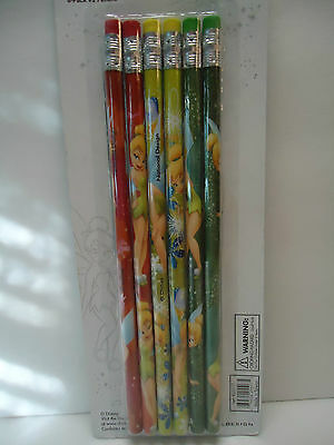 DISNEY TINKER BELL 6 Pack #2 Pencils NEW in package Gr8 Gift FREE SHIPPING