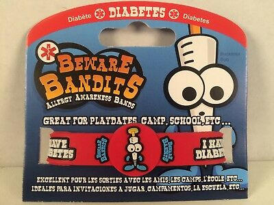 Beware Bandits Allergy Awareness Bands -Diabetes- New In Package