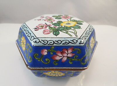 Vintage Chinese Canton Enamel ware Cloisonne 6-Sided Lidded Box Flowers China
