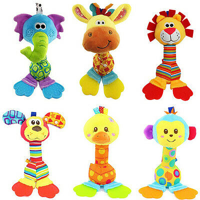 Baby Hanging Toy Cartoon Animal Teether Rattle Hand Bell Plush Stroller Toy  R