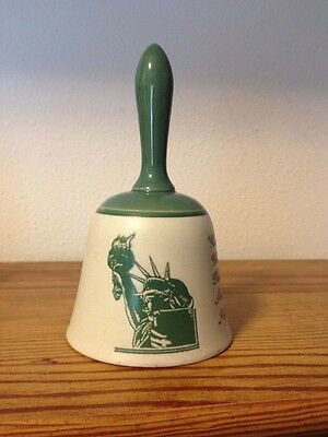 "Statue of Liberty Stonware Ceramic Bell  Taupe & Green 5 5/8"" tall"
