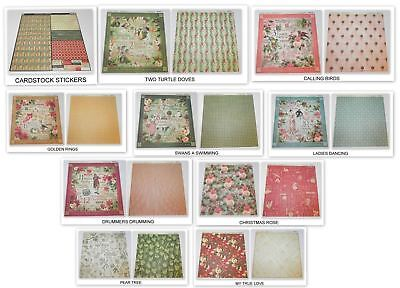 Lot Graphic 45 The 12 Days Christmas 12 X 12 Designer Paper Cardstock Sickers