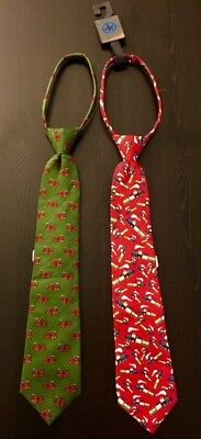 2 New Boys J Khaki Silk Neck Tie Holiday Christmas 1 Fire Truck & 1 Train Print