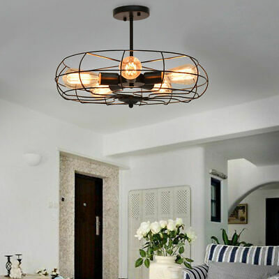 Industrial Vintage Semi Flush Mount Ceiling Light Metal Hanging Fixture 5-Light