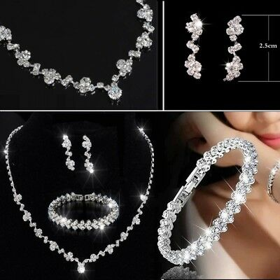 Silver Bridesmaid Crystal Necklace Earrings Jewelry Set Wedding Bridal Jewellery