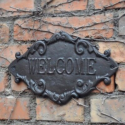 CAST IRON WELCOME SIGN WALL ART HOME French Country Vintage Inspired Wrought big