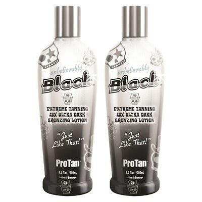 2 x Pro Tan UNBELIEVABLY BLACK bronzer Sunbed Tanning Lotion Cream + Free Gifts