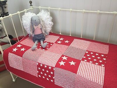 Baby Cot Quilt Lachlan Red Stars & Stripes  Boys Girls Nursery Cotton Quilted