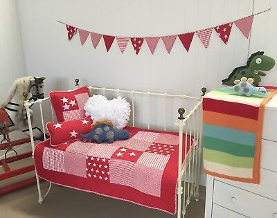 4 pce Cot Quilt Cushions Bunting Lachlan Red Stars Baby Boys Girls Crib Nursery