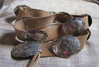 Vintage Signed Navajo from Taos Pueblo ML Beige Leather Belt w Sterling Concho