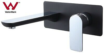 NEW Watermark round square black chrome wall basin mixer tap single handle WELS