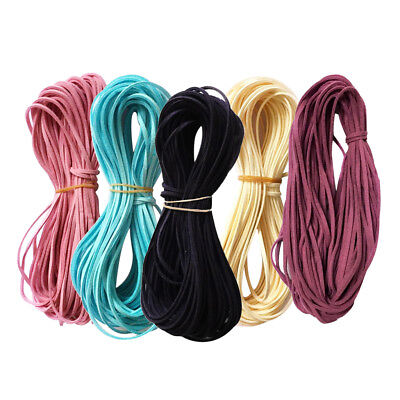 5pcs Multi-color Velvet Flat Faux Leather Suede Cords Threads Woven Ropes