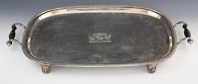 VTG Inscribed Coat of Arms Wood Handled Footed Silver Plate Butlers Serving Tray