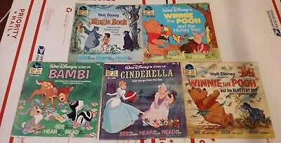 5 Walt Disney's Books For Records 33 1/3 RPM See Hear Read Along Songs. NO RECS.