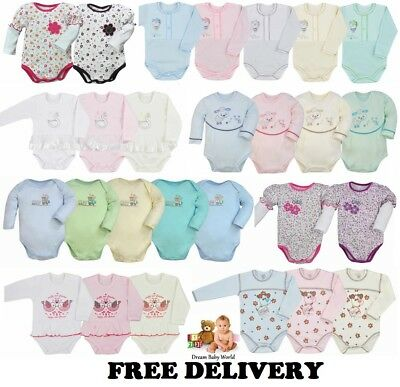 100% Cotton Baby girls boys Long Sleeve Bodysuits 0 - 24 months 2 - 3 Years NEW