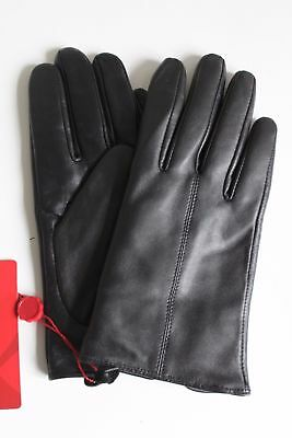 Ladies GSG Black 100% Leather Warm Wool Mix Lined Gloves with Gift Box - Large