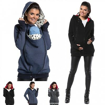 Zeta Ville - Women's Maternity Sweatshirt Hood Removable Panels Pregnancy - 059c