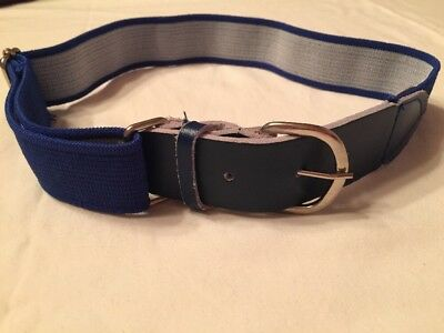 Kid's Belt Blue One Size Elastic and Leather Adjustable 18-25 Inch Waist