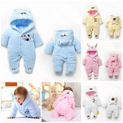 Baby clothes newborn infant girls boys winter fleece warm padded thick bodysuit