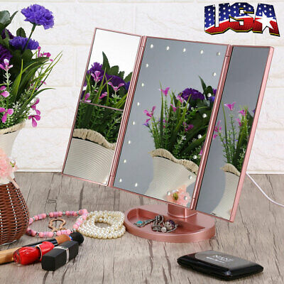Tri-Fold 2x 3x 10x 22 LED Lighted Touch Screen Stand Vanity Makeup Mirror 3Color